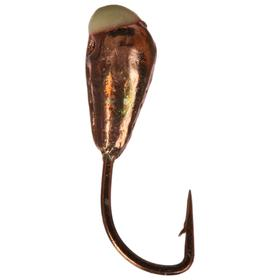 Мормышка «Капля» с отверстием, цвет copper plated, с фосфорной пяткой, d=3, 5 шт.