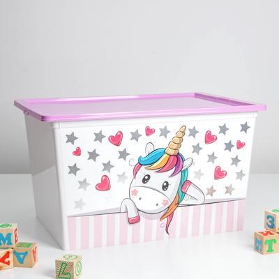 Контейнер для хранения игрушек «Деко. Единорог», 50 л, 53×37×30 см - Фото 1