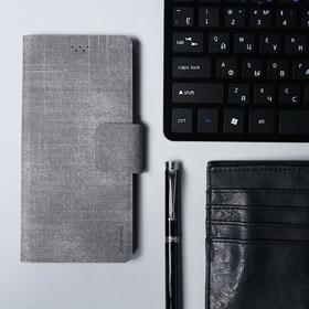 """Чехол-книжка для телефона Maverick Slimcase, универсальный, 6-6.5"""", джинсовый, серый"""