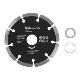 Диск алмазный отрезной Bohrer 39211517, сегментный,сухой рез, 115х22.2 мм, по бетону/кирпичу