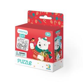 Пазл-раскраска 2-в-1, 16 элементов «Рождественский мишка»