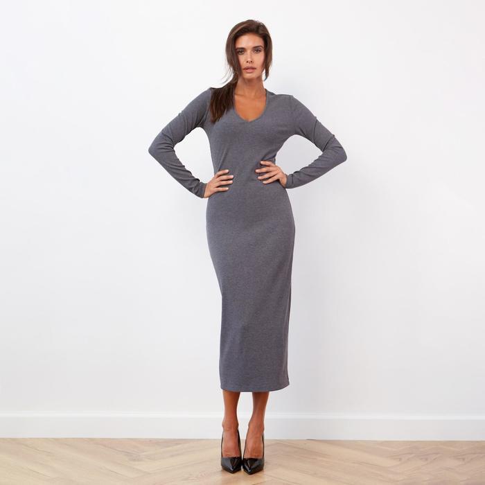 Платье в рубчик MIST, серый, 46