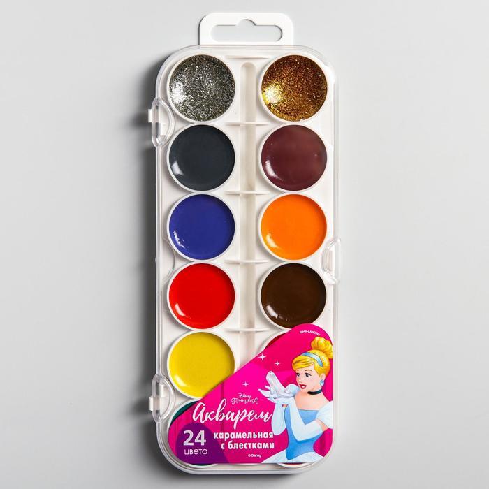 """Акварель 22 цвета + 2 цвета с блёстками (золото, серебро), """"Принцессы"""", Принцессы"""