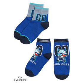 Носки для мальчиков, размер 12-14, цвет синий, синий, 2 шт в наборе