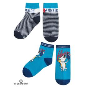 Носки для мальчиков, размер 12-14, цвет тёмно-синий, голубой, 2 шт в наборе