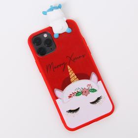 Чехол для телефона iPhone 11 pro «Новогодний единорог», с персонажем, 7,14 х 14,4 см