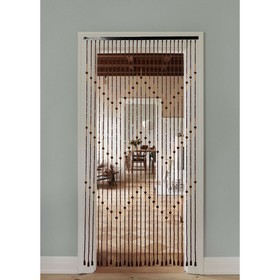 Занавеска декоративная «Зиг-заг», 90×175 см, 27 нитей, дерево, бусины малые Ош