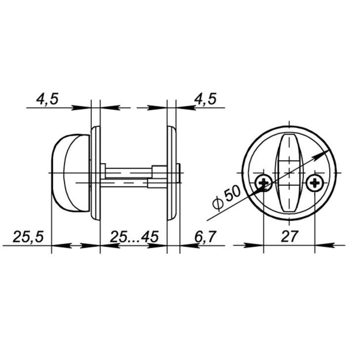 Ручка поворотная WC-001-CP, подвес, цвет хром