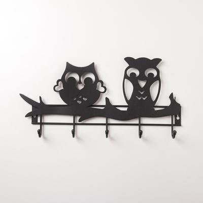Вешалка настенная на 5 крючков «Совы», цвет чёрный - Фото 1