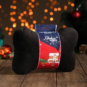 Подушка автомобильная подарочная 'Новый год', на подголовник, велюр, черный, 18х26 см Ош