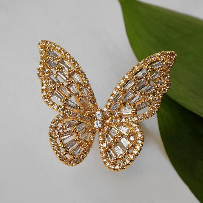 """Кольцо """"Бабочка"""" крупная, цветное в золоте, безразмерное"""