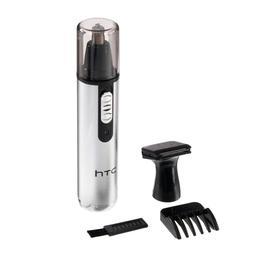 Триммер HTC АТ-036, для носа/ушей/бороды, 2 насадки, от АКБ, серебристый