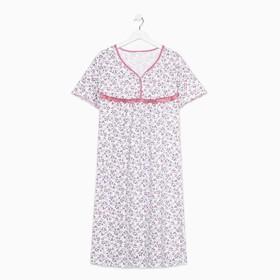 Сорочка женская, цвет белый/розовый, размер 50