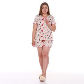 Комплект женский (футболка, шорты), цвет бежевый/цветы, размер 46