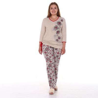 Комплект женский (лонгслив, брюки), цвет бежевый/цветы, размер 46