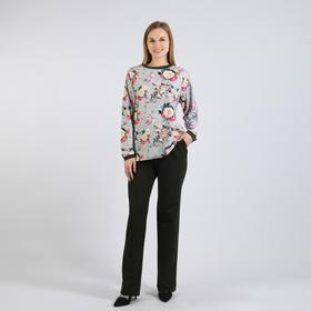 Костюм женский (лонгслив, брюки), цвет тёмный хаки/ментол/цветы, размер 48 Ош