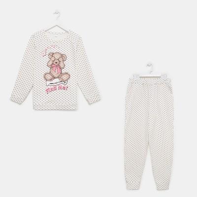 Пижама женская (лонгслив, брюки), цвет шампань, размер 52