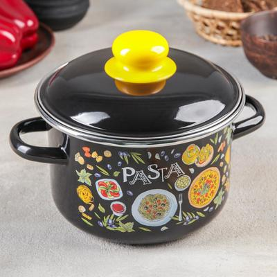 Кастрюля цилиндрическая Pasta, 2 л, цвет чёрный