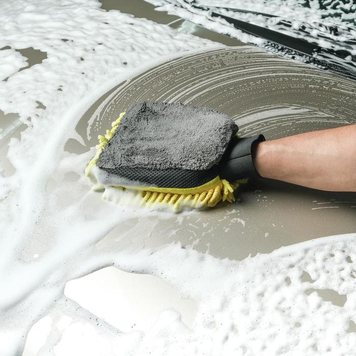 Варежка для мытья авто CARTAGE, 25×19 см, двухсторонняя, желто-серая