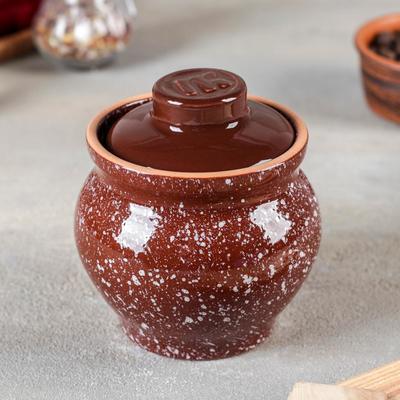 Горшочек традиционный «Мрамор коричневый», 400 мл - Фото 1