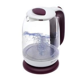 Чайник электрический WILLMARK WEK-1704G, стекло, 1.7 л, 2200 Вт, бело-фиолетовый