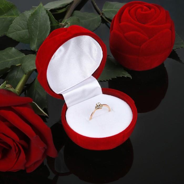 """Футляр под кольцо """"Роза"""" без листьев, 4,5*4,5*4, цвет красный, вставка белая"""