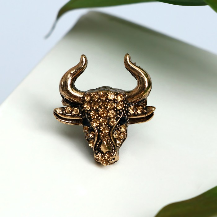 Брошь Бык, форма МИКС, цвет коричневый в черёном золоте