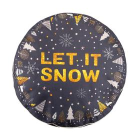 Чехол для пуфика Этель 'Let it snow', d=60 см, рогожка, 100% п/э Ош