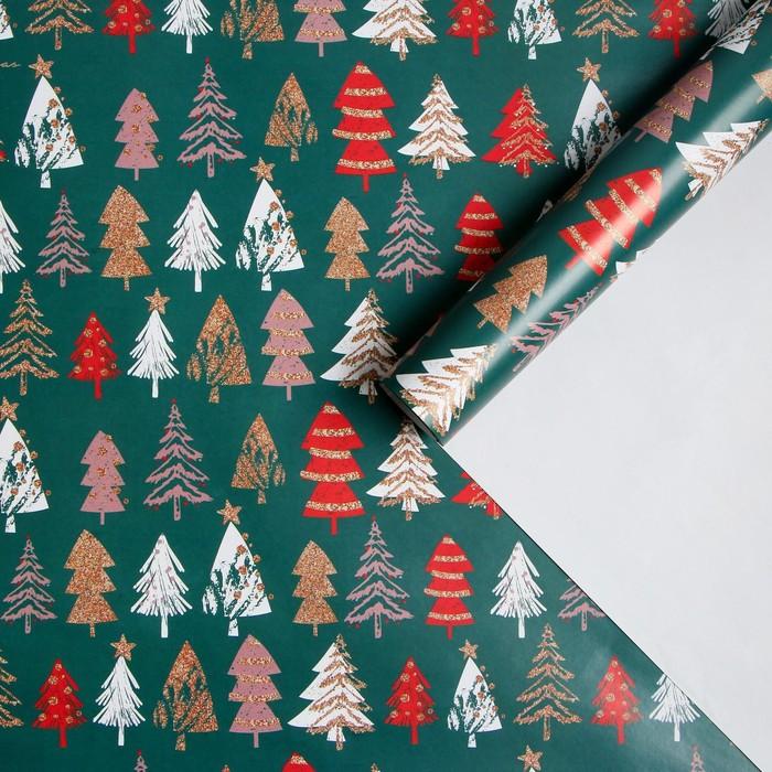 Бумага упаковочная глянцевая «Елочки», 70 × 100 см