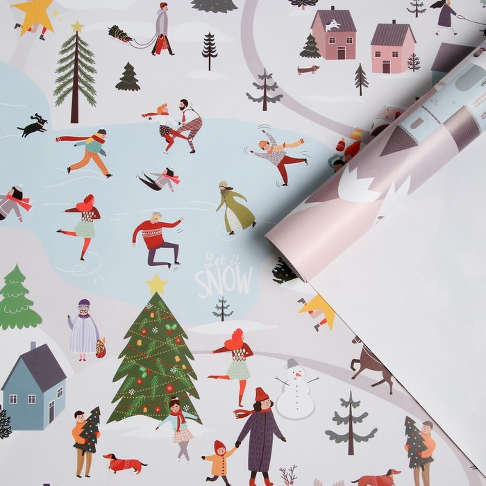 Бумага упаковочная глянцевая «Зимний город», 70 × 100 см