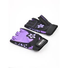 Перчатки для фитнеса женские замшевые X11, цвет чёрный/фиолетовый, размер S