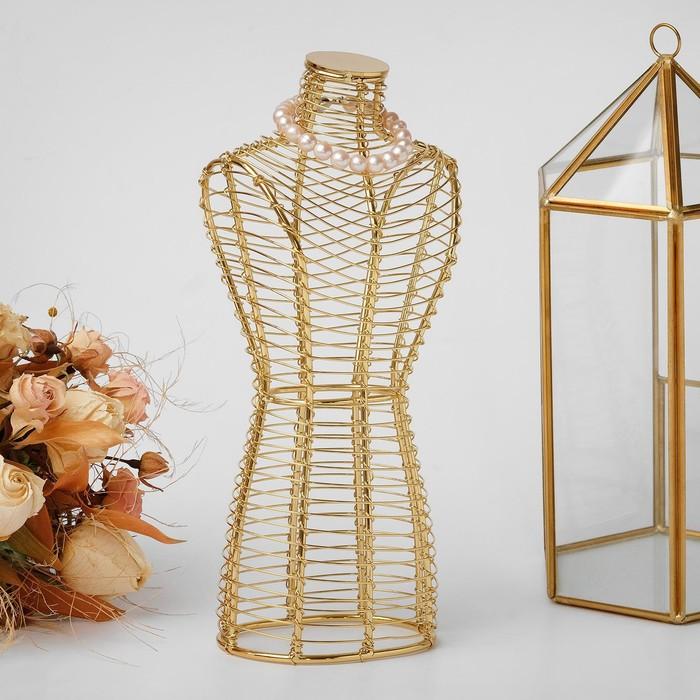 Бюст для украшений металлический 11*7*26 см, h=26 см, цвет золото