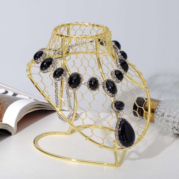 Бюст для украшений металлический 14*15*15 см, h=15 см, цвет золото