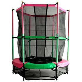 Батут DFC JUMP KIDS 55', d=137 см, с внутренней защитной сеткой, цвет зелёный/розовый Ош