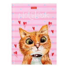 Бизнес-блокнот А6, 64 листа «Время котиков», твёрдая обложка