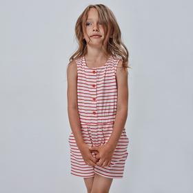 Полукомбинезон для девочки, рост 128 см, принт красная полоска Ош