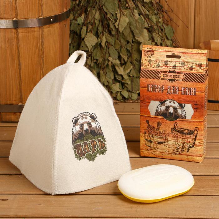 Подарочный набор Добропаровъ шапка Царь медведь и мочалка