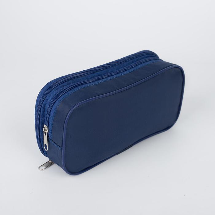 Косметичка, 2 отдела на молниях, цвет синий