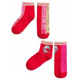Носки для девочек, размер 12-14, цвет бежевый, красный, 2 пары
