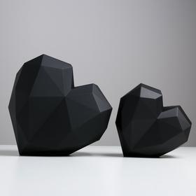 Набор подарочных коробок «Черное сердце» матовые, 18 × 18 × 12.5 - 25 × 25 × 18 см