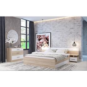 Спальня Леси, кровать 1600, тумбы 2 шт, комод, Дуб сонома/Белый Ош
