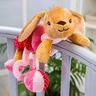 Растяжка - спираль мягкая с погремушкой на кроватку/коляску «Зайка розовая» 2593671