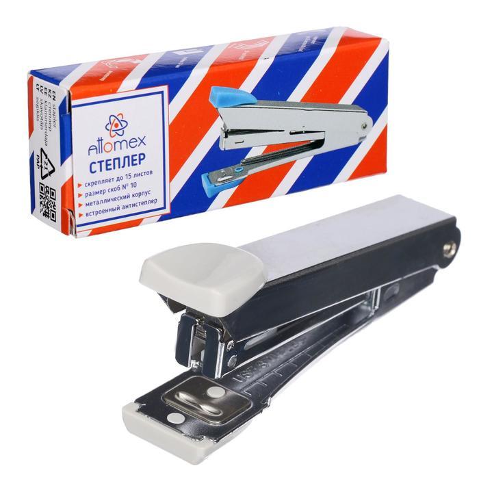 Cтеплер №10 на 15 листов, Attomex, металлический корпус, с встроенным антистеплером, цвет серый