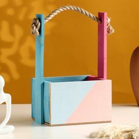 Кашпо деревянное, 15×12×8.5(25) см 'Пауль и Любовь. Диалог, Красота', двухцветное Ош