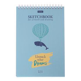 """Блокнот А5, 80 листов на гребне SketchBook """"Всё замечательно!"""", картонная обложка, твёрдая подложка, блок 100 г/м2"""