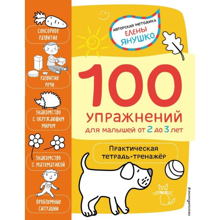 2+ 100 упражнений для малышей от 2 до 3 лет. Практическая тетрадь-тренажёр. Янушко Е. А.