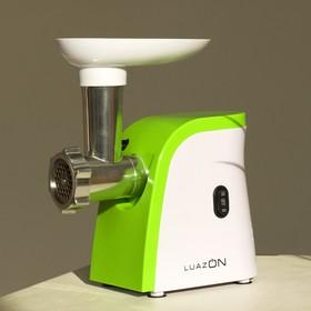 Мясорубка LuazON LMG-1805, 600 Вт, 2 решётки, реверс, соковыжималка, бело-зелёная