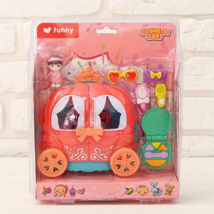 Пластиковый домик для кукол Карета с аксессуарами, МИКС