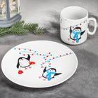 Набор посуды «Пингвины», 2 предмета: кружка, тарелка
