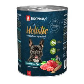 Влажный корм Holistic для собак, перепёлка с рисом и цукини, ж/б, 350 г